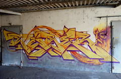RUBER GEK (Ghetto En Kouleurs) Tags: ruber gek team graffiti saint etienne old man yellow colors usines abatoirs yo ynot freestyle semi wildstyle amiante holiday