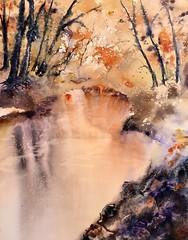 2ieme aquarelle réalisée au stage de Reine-Marie Pinchon. Chaque élève partait d'une photo différente. Donc, là je peux dire qu'elle est unique. ☺️ (carine hubeaux) Tags: orange reflets automne bois lac