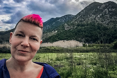 Pause to meet (Melissa Maples) Tags: adrasan turkey türkiye asia 土耳其 apple iphone iphone6 cameraphone spring me melissa maples selfportrait woman brunette shorthair pinkhair countryside field mountain clouds