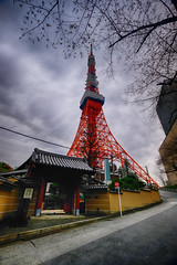 Tokyo Tower on a Cloudy Day (` Toshio ') Tags: toshio tokyo tower tokyotower japan communications observationtower asia japanese nippon nihon fujixt2 xt2 clouds storm tree branches temple street architecture