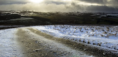 Lonely Winter Road (Benjamin Driver) Tags: northumberland road winter january newyear sun set sunset snow snowcappedhills hills hill moor moors moorland quiet desolate landscape landscapes land scape