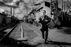 Street 402 (soyokazeojisan) Tags: japan osaka street sky clouds city people bw blackandwhite walk women film kodak analog monochrome olympus m1 28mm trix memories 昭和 1970s 1973 402