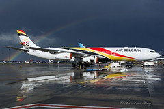 ABB_A343_OOABB_BRU_APR18 (Yannick VP) Tags: civil commercial passenger pax transport aircraft jet jetliner airliner ab abb airbelgium airbus a340 340300 ooabb brussels airport bru ebbr belgium be bel europe eu april 2018 airside rainbow weather storm aviation photograpy planespotting airplanespotter
