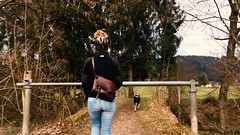 Crossing over the footbridge to Austria for the evening dog walk.. (HungryArtistMadCow) Tags: easter travel lakeconstance april germany austria lindau bregenz dji gimbal
