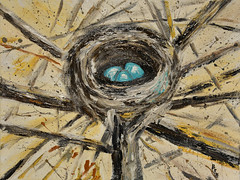The Nest - by Me (BKHagar *Kim*) Tags: bkhagar artday thursday art artwork painting paint acrylic kim nest birdsnest nature tree limbs