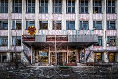 City Administration Building in Pripyat, Chernobyl Exclusion Zone, Ukraine (KSAG Photography) Tags: city building communist communism soviet history disaster pripyat ukraine chernobyl urbandecay trefoil radiation nikon hdr april 2018 spooky travel tourism urban street