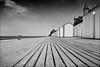 blonville-sur-mer (heavenuphere) Tags: blonvillesurmer lisieux calvados normandie normandy france europe coast coastline sand beach hut cabin englishchannel english channel lamanche sea water bw 24105mm