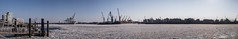 Freezing (dlerps) Tags: de daniellerps deutschland europe germany hamburg hamburgerhafen harbor lerps northerngermany seaport sigma sony sonyalpha sonyalphaa77 hafen ice lerpsphotography snow winter driftice cranes harbour frozen freezing cold sunshine sunny panorama containerterminal