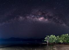 Milky Way over an island (Panorama) (mathieu.bu) Tags: milky way philippines el nido palawan island galactic stars panorama