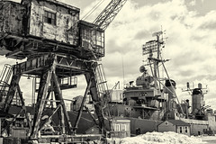 Dockside--Snow (PAJ880) Tags: crane cassin young destroyer dd793 us navy charlestown yard boston ma mono bw industrial naval