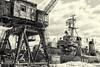 Dockside--Snow (PAJ880) Tags: crane cassin young destroyer dd793 us navy charlestown yard boston ma mono bw industrial naval