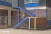 Yellow and blue (Richard:Fraser) Tags: yelloe blue photography urban night longexposure unplace street nopeople staircase building architecture fence gate city life platform construction