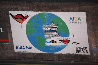 Painted sign at Madeira cruise terminal = Aida cruises