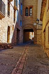 Calle Baja de Alquezar (juanmzgz) Tags: alquezar huesca aragón españa calle arquitecturatípica callizo empedrado farola ventana