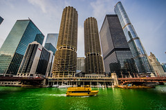 Chicago River Dyed Green (Joshua Mellin) Tags: stpatricksday river green chicago tradition cold winter weather pattys paddys st saint patrick patricks trump tower trumptower ibm ibmbuilding marinacity marinacitytowers building architecture history travel tourism choosechicago photo photographer board bureau awards image advertising joshuamellin photog photos pictures best pic skyline water bridges downtown ftdearborn march 2018 flickr chicagowatertaxi taxi watertaxi boat yellow yellowtaxi journalist writer wrigleybuilding trumptowerchicago crisp book statestreet street glass concrete boats boating black blue bright sunny white rust teal corncob corncobbuilding