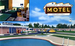 Augusta Terrace Motel, Georgia (SwellMap) Tags: postcard vintage retro pc chrome 50s 60s sixties fifties roadside mid century populuxe atomic age nostalgia americana advertising cold war suburbia consumer baby boomer kitsch space design style googie architecture
