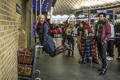 20180321_F0001: To the Harry Potter train (wfxue) Tags: london tourist souvenir trolley scarf jump kingscross station platform934 platform 934 harrypotter magic magical host tourism street people candid portrait