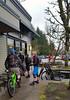 Mountain bikers take a coffee break (D70) Tags: samsung smg900w8 ƒ22 48mm 1100 40 mountain bikers take coffee break 082365 mt seymour trail riders