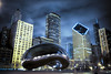 bean at night blue (kaimonster) Tags: chicago night blue bean cloud buildings urban greatphotographers outside
