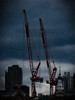The Two Cranes (Steve Taylor (Photography)) Tags: art architecture digital building construction crane uk gb england greatbritain unitedkingdom london texture weather rain cloud stormy sky