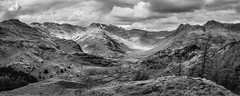 Langdales from Lingmoor (Ade G) Tags: bw landscape seasons mountains panorama snow winter