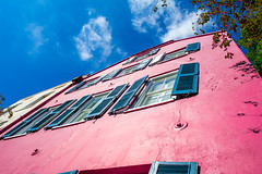 Rainbow Row (Shawn Blanchard) Tags: charleston sky clouds color city south carolina red pink window white building blue architecture america travel usa house
