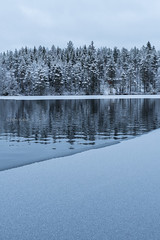 Blue hour arrives in November (grus_p) Tags: november winter landscape lake water ice snow cloudy reflections trees tranquillity nature luminanceboréale finland