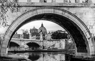 Under the bridge in B&W - Rome