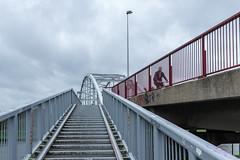 Stairway to the bridge (Giloustrat) Tags: k3 pentax amsterdam stairs bridge bike clouds geometry