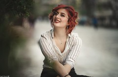 Katerina (Vagelis Pikoulas) Tags: portrait sigma art 85mm f14 bokeh woman girl beautiful beauty canon 6d blue glasses redhead athens greece 2018