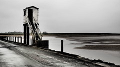 Escape box (Anita K Firth) Tags: lindisfarne holy island escape box escapebox holyisland water tower steps stairs sea seaside mono dramatic moody tidal tides skies grey april 2018 wooden barrier roadway road northumberland