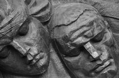 Monumental Faces (peterkelly) Tags: bw digital canon 6d almaty kazakhstan asia gadventures centralasiaadventurealmatytotashkent parkof28panfilovguardsmen worldwar2 worldwarii wwii ww2 monument memorial statue sculpture faces face