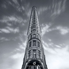 Flatiron Building (fesign) Tags: 1902 architecturalfeature architecture bw buildingexterior builtstructure city day famousplace flatironbuilding internationallandmark lowangleview newyorkcity nopeople outdoors photography skyscraper tallhigh tourism tower travel traveldestinations usa
