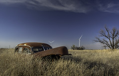 Rusted Hearse (jdnelms62) Tags: texas ruraltexas farm abandoned abandonedcars abandonedhomes field windfarms turbines