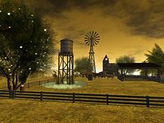 Down on Winny Mae's Farm (Tevor Z) Tags: secondlife farm horse horses ranch windmill watertower fence farmer trees field barn nostalgia virtualworld