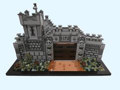 TTR4: Ornate Village Gatehouse (Dan The Imposter) Tags: lego castle gatehouse foliage ornate gate bricks wall defense bell scaffolding iv romannumeral flesh mediumdarkflesh darkorange greeble npu etc architecture