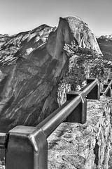 Yosemite - Glacier Point, Half Dome_B&W_1905 (www.karltonhuberphotography.com) Tags: 2016 aweinspiring blackandwhite california cloudsrest geologicformation geologichistory geologicwonder geology glaciation glacierpoint granite halfdome iconic karltonhuber mountaintops railing silverefexpro2 viewpoint vista wall yosemite yosemitenationalpark