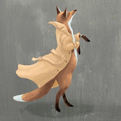 ready & waiting (Crickett-Grrrl) Tags: illustration drawing sketch friend fox trenchcoat crossroad indianfood takeout easter dinner tamber