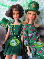 7. Celebrating (Foxy Belle) Tags: doll barbie st patrick patricks day party diorama green holiday celebrate miniature dollhouse 16 playscale food shamrock francie wooden table chairs dining room glitter decorations