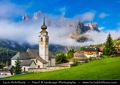 Italy - Alps - Dolomites - Colfosco Church with morning mist (© Lucie Debelkova / www.luciedebelkova.com) Tags: colfosco calfosch dolomites dolomiti southtyrol alps alpine italy italian italia italianrepublic republicofitaly repubblicaitaliana southeurope country europe europeanunion eu italianpeninsula italie world exploration trip vacation holiday place destination location journey tour touring tourism tourist travel traveling visit visiting sight sightseeing wonderful fantastic awesome stunning beautiful breathtaking incredible lovely nice best perfect landscape nature mountains valley wwwluciedebelkovacom church tree grass green cloud building village mountain
