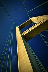 Tacoma Narrows Bridge, Washington (BDM17) Tags: tacoma narrows bridge tower span suspension cables support puget sound kitsap peninsula washington wa pierce blue sky concrete