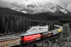 Selective Color at Morant's Curve (Black & White, Banff National Park) (thor_mark ) Tags: albertaprovincialhighwayno1a alongbanksofbowriver atmorantscurve banffnationalpark banfflakelouisecorearea blackwhite bowrange bowriver bowvalleyparkway canadianpacificrailway canadianpacificrailwaytrack canadianrockies capturenx2edited cloudsswirlingaround cloudsacrossvalley cloudsaroundmountains colorefexpro continentaldivide day4 evergreens fairviewmountain flickridea freighttrain hillsideoftrees hillsides ideasigotfromothers landscape longstretchoftrain lookingwest lookingtocontinentaldivide lookingtomountainsofthecontinentaldivide lowclouds morantscurve mostlycloudy mountainvalley mountains mountainsindistance mountainsoffindistance nature nikond800e outside overcast portfolio project365 railline railroad railroadtracks railwaytracks river riverbank rockymountains saddlemountain sheolmountain southerncontinentalranges train traincars traingoingby traintracks traininmotion trees triptoalbertaandbritishcolumbia alberta canada