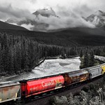 Selective Color at Morant's Curve (Black & White, Banff National Park) thumbnail