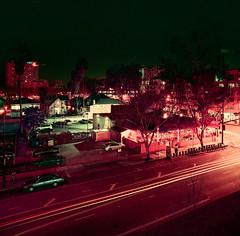 San Jose (bior) Tags: sanjose distagon hasselblad500cm lomochromepurple square mediumformat 6x6cm 120 longexposure night downtownsanjose street sidewalk lomography