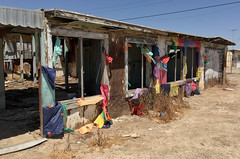 Colorful and Abandoned (cowyeow) Tags: art abandoned saltonsea old desert california usa america bombaybeach weird odd strange shack building decay house forgotten color colorful flags decorated funny