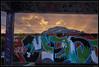 Urban/Mountain Mixed Sunset #3 (LilFr38) Tags: lilfr38 fujifilmxpro2 fujinonxf1024mmf4rois fujifilm xpro2 grenoble france derelict abandoned streetart sunset dusk urban mountain coucher de soleil bulles urbain montagne whygopearljam