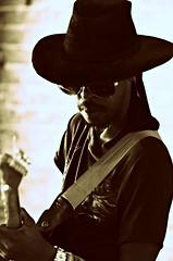 Trenton Ayers -- 2017 Cat Head Mini Blues Fest (forestforthetress) Tags: trentonayers bluesmusic catheadminifest clarksdale monochrome man face hat guitar omot nikon outdoor gig stage concert festival google flickr