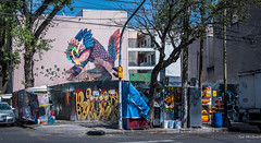 2018 - Mexico City - Condesa - Art Walk - Gleo (Ted's photos - For Me & You) Tags: 2018 cdmx cityofmexico cropped mexico mexicocity nikon nikond750 nikonfx tedmcgrath tedsphotos tedsphotosmexico vignetting gleo streetscene street mural wallmural waterjug curb blue bluesky red redrule graffiti