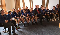 With Yester Primary pupils at Holyrood