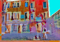 Giggles (Bamboo Barnes - Artist.Com) Tags: town building venice italy tiles bricks wall window red pink yellow blue girl digitalart photomanipulation distortion surreal